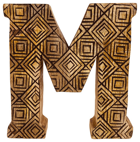 Hand Carved Wooden Geometric Letter M Shipping furniture UK