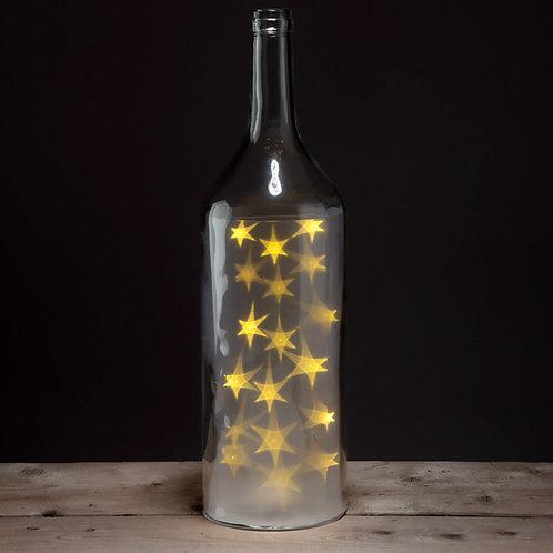 Decorative LED Glass Light Jar - Bottle with White Stars Large Novelty Gift