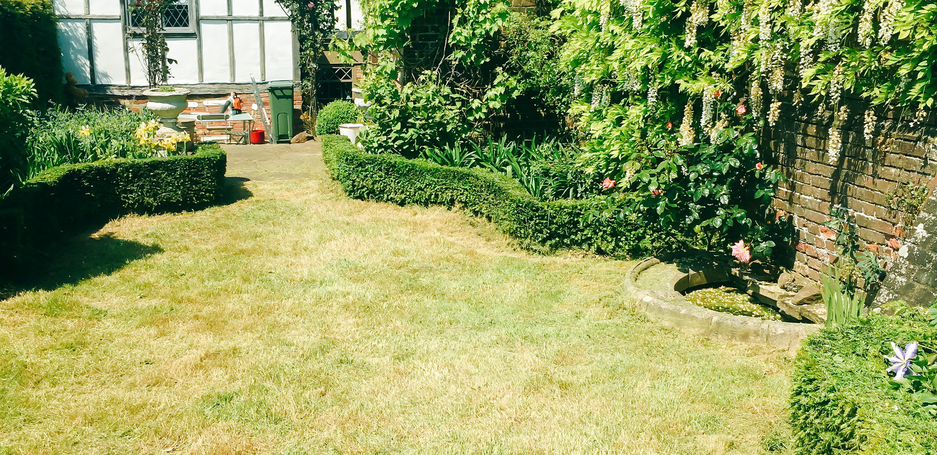 back garden with full tidy and mown lawn