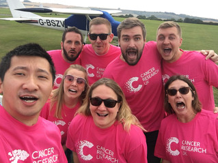 Pareto FM team complete Group Skydive for Cancer Research UK