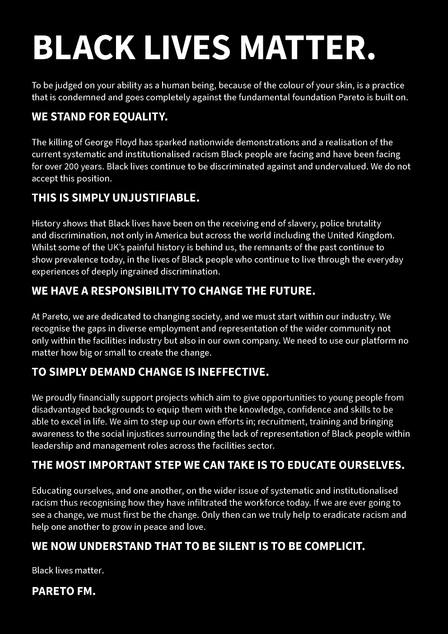 Press Release: Pareto Releases Black Lives Matter Statement