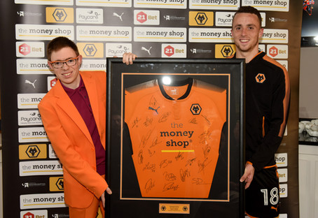 With the Man of the Match at Wolverhampton Wanderers