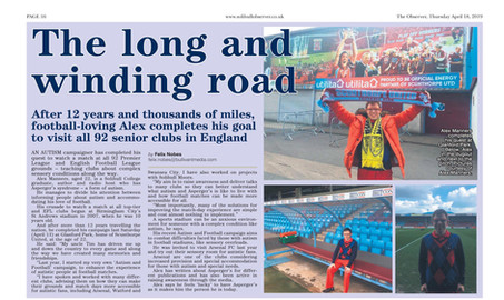 """Article in Solihull Observer about 92 grounds and """"Autism & Football"""" Campaign"""