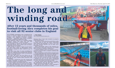 "Article in Solihull Observer about 92 grounds and ""Autism & Football"" Campaign"