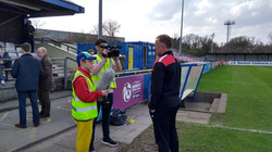 Interviewing Solihull Moors manager for BT Sport