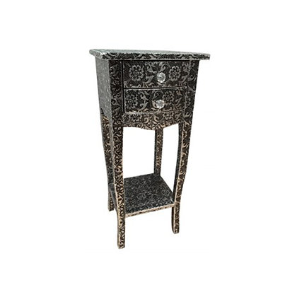 Pair of Embossed Metal Finish Bedside Tables