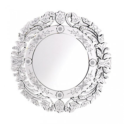 Floral Etched Round Glass Mirror