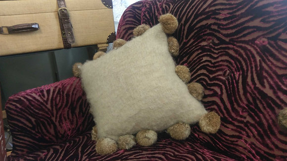 Beige Rabbit Pom Pom Cushion