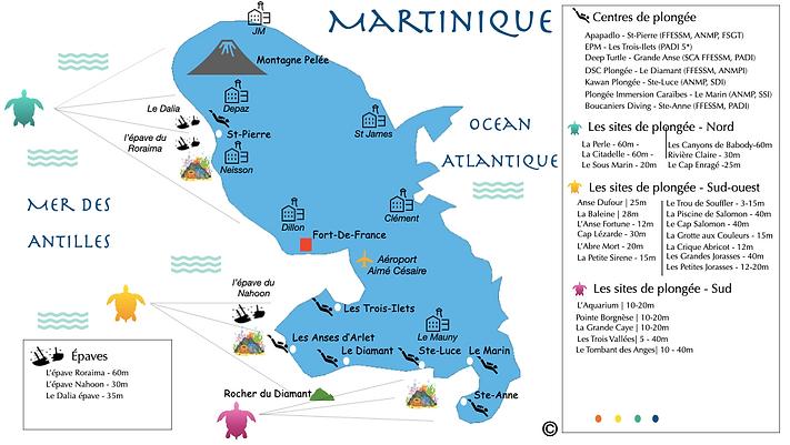 Dive Spot Map Martinique