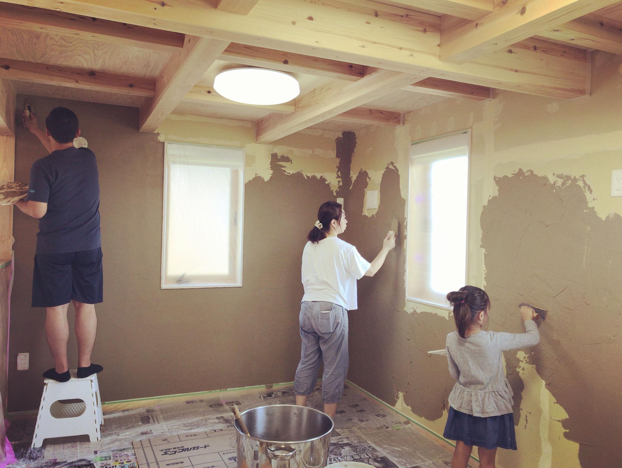 ご家族で 子供部屋の塗り壁体験を お茶薫る珪藻土