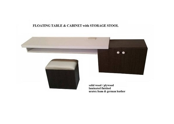 Floating Table & Cabinet with Storage Stool (made-to-order)
