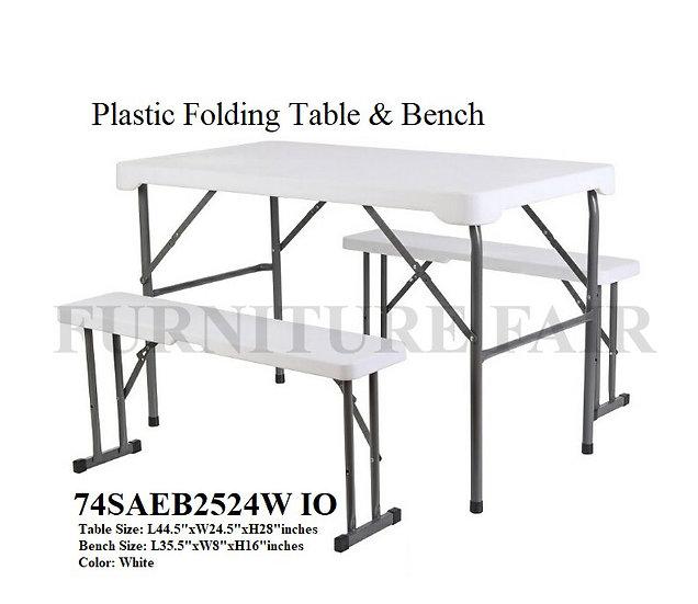 Plastic Folding Table & Bench 74SAEB2524W IO