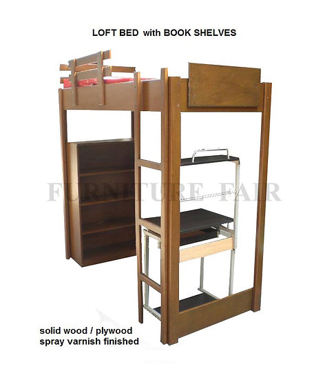 Loft Bed with Book Shelves (made-to-order)