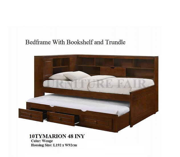 BedFrame With BookShelf With Trundle 10TYMARION-48 INY