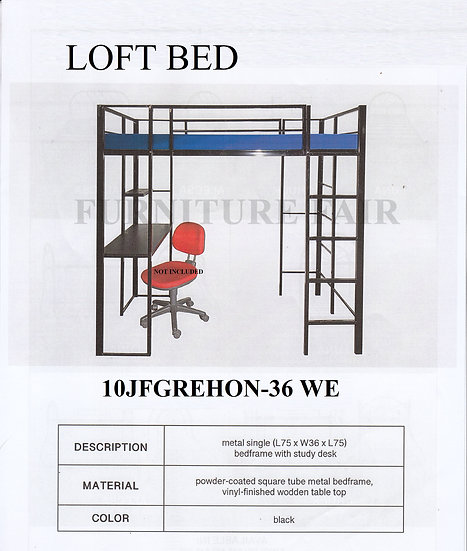 Steel Loft Bed 10JFGREHON-36 WE
