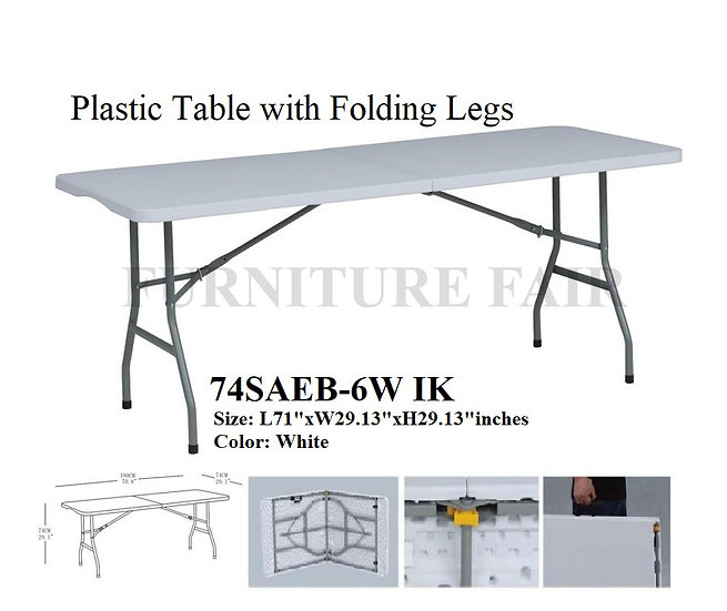 Plastic Table with Folding Legs 74SAEB-6W IK