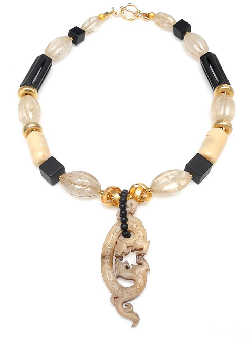 Antique Cream Jade Dragon Graces Necklace of Onyx, Crystal & Gold