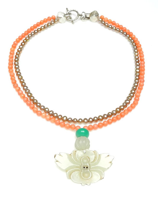Classic Coral, Pearl Double Strand Necklace & Antique Jade Butterfly Pendant