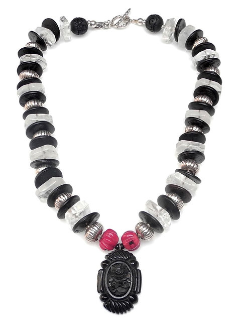 Bold Crystal & Red Coral Necklace with Antique Black Jet Pendant