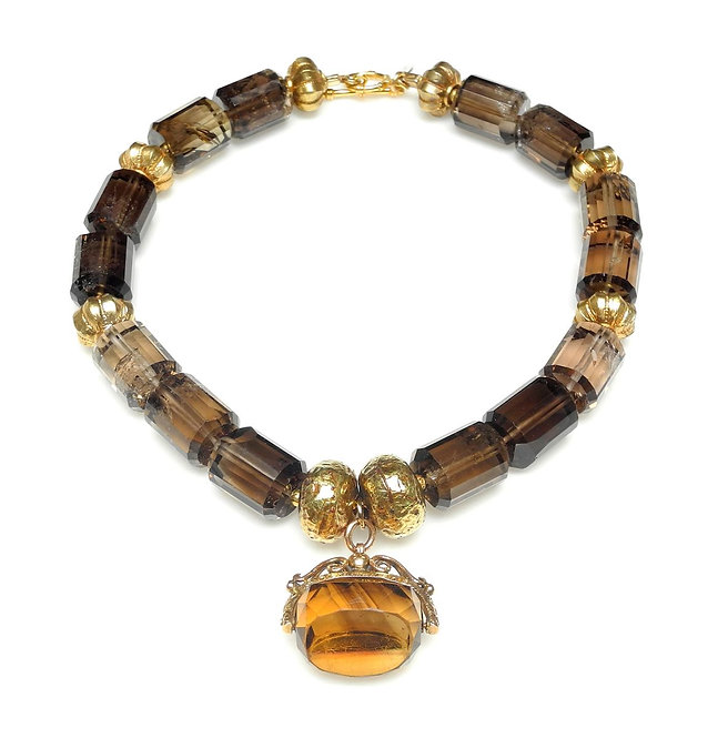 Chic Necklace of Smoky Quartz & Gold with Antique Gold Citrine Pendant