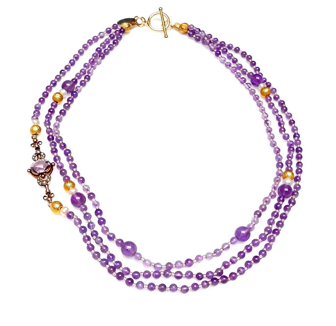 Lilac Amethyst Multi-Strand Necklace with Antique Gold/Amethyst Pendant