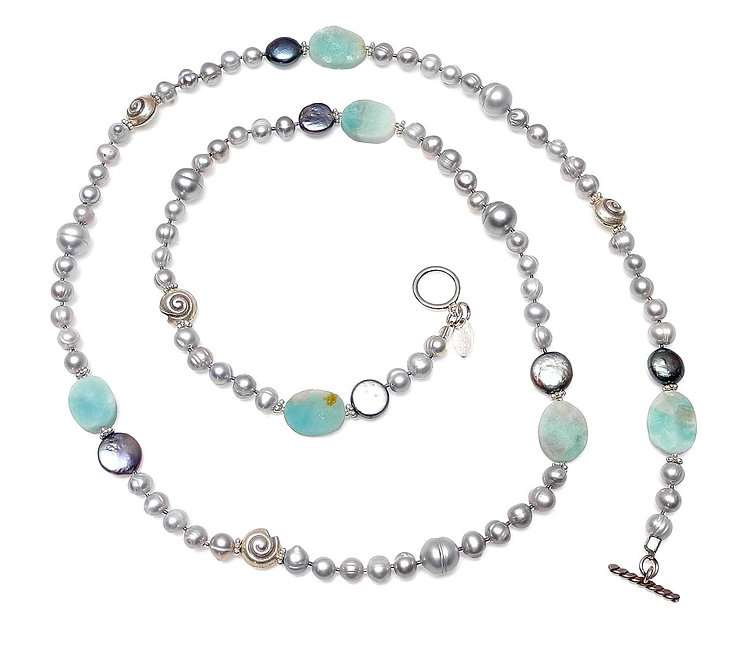 Long Necklace of Silver Pearls & Blue Amazonite