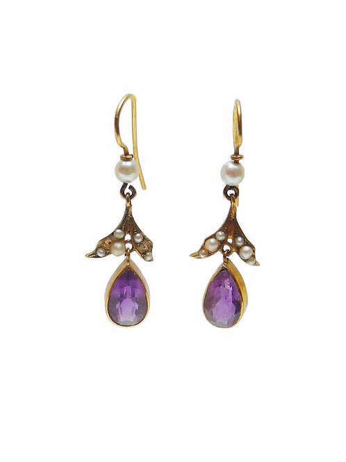 Antique Edwardian Amethyst, Cultured Pearls and 14ct Gold Earrings