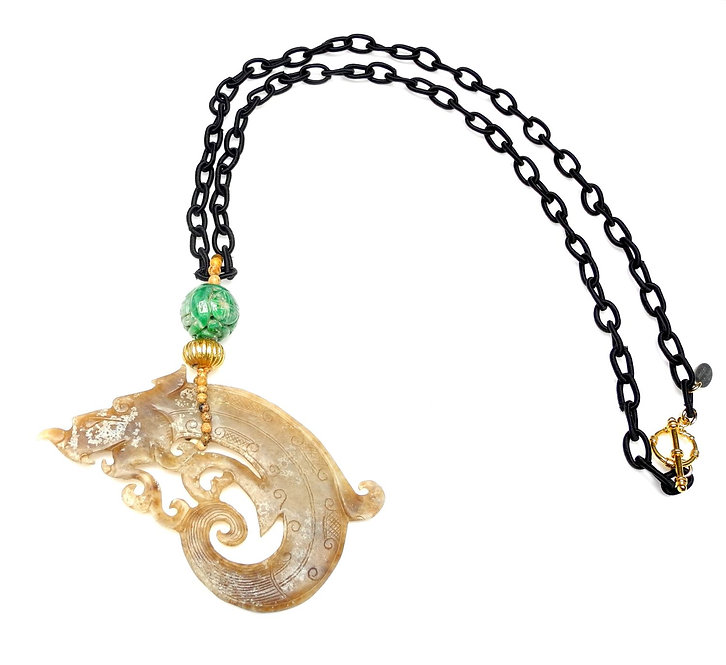 Exotic Large Tan Jade Dragon on Black Silk Chain