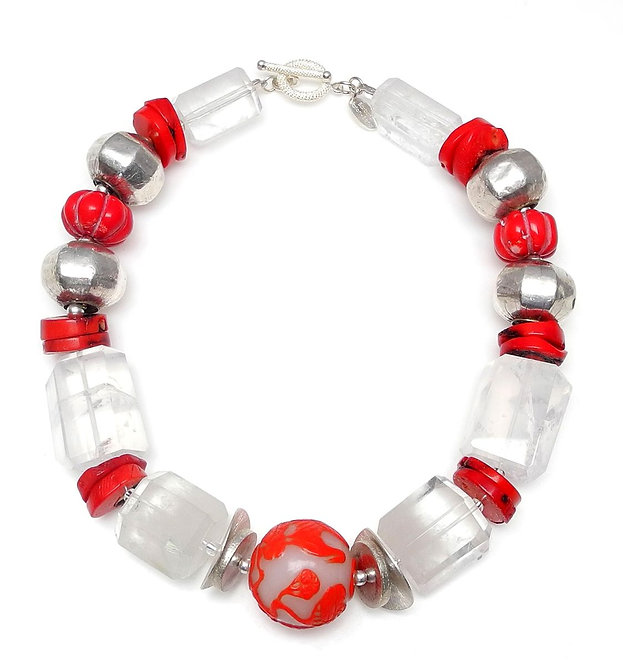 Ravishing Red & White Peking Glass with Crystal, Coral & Silver Necklace