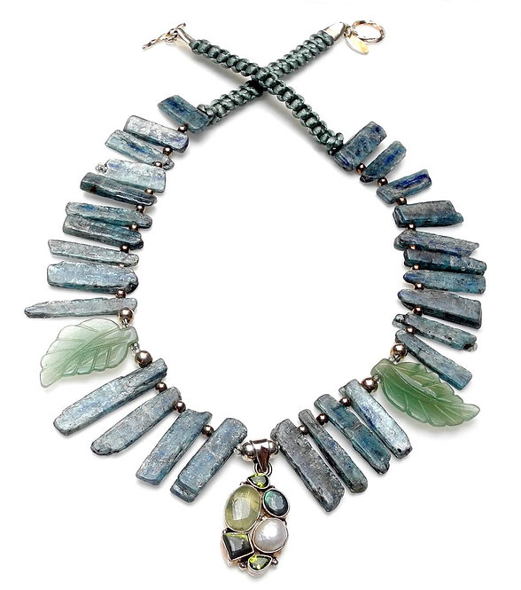 Edgy Necklace of Blue Kyanite Ribs, Green Aventurine Leaves & Peridot Pendant