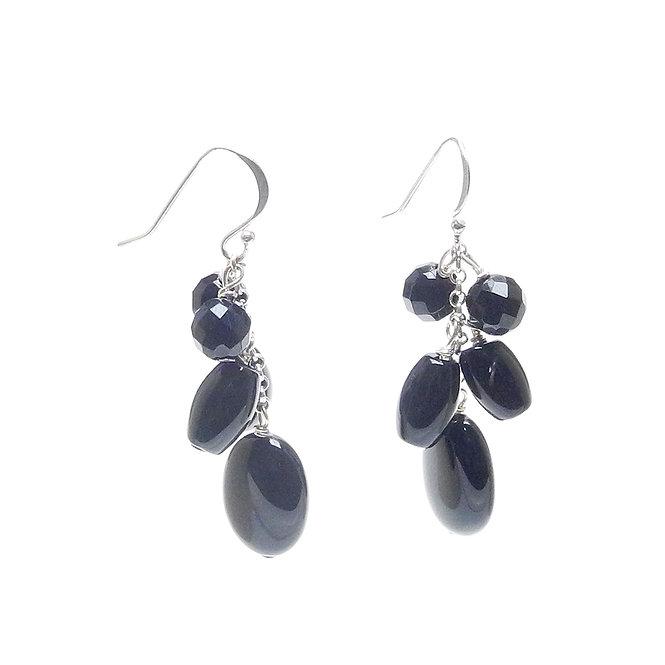 Smart, Natural Black Agate Dangle Earrings