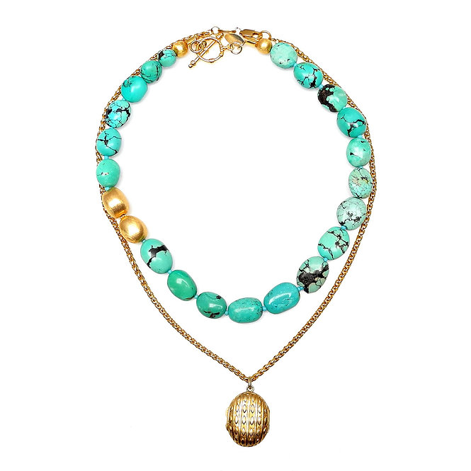 Gold Chain & Antique Locket Teemed with Turquoise & Gold Necklace