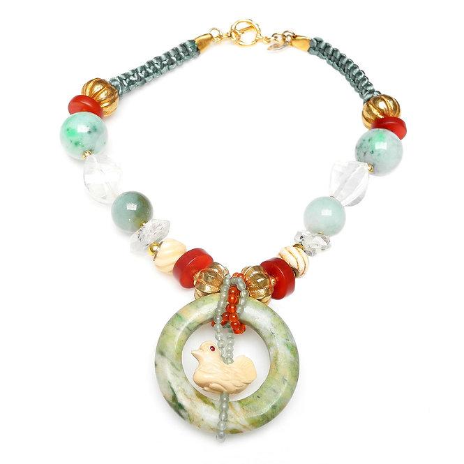 Green Jade Disc Encircles Bone Duck, on Necklace of Jade, Crystal & Carnelian