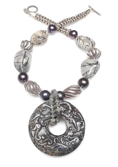 Stunning Grey Jade Dragon Disc on Tourmaline, Grey Pearls & Silver Necklace