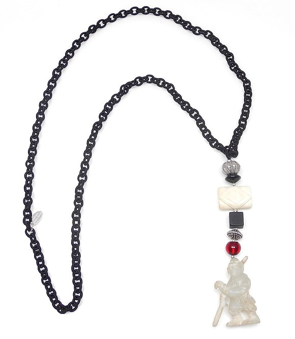 Long Black Silk Chain with Antique White Jade Warrior, Onyx & Bone