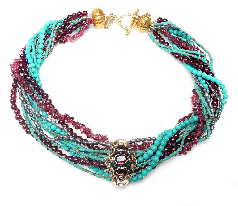 Multi-Strand Turquoise & Garnet Necklace with Victorian Gold & Garnet Slide