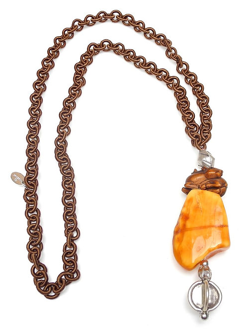 Long Brown Silk Chain with Amber, Wood Deer & Silver