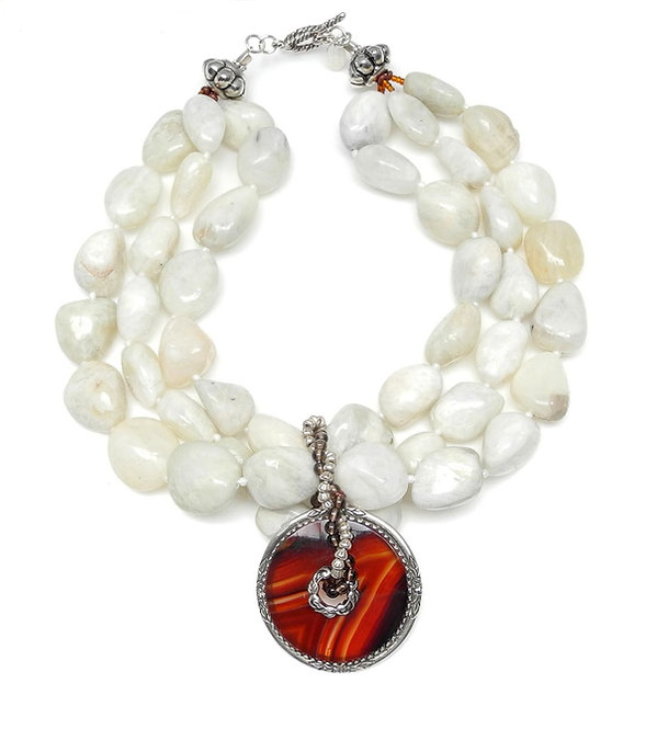 Moonstone Pebble Multi-Strand Necklace with Antique Silver & Agate Pendant