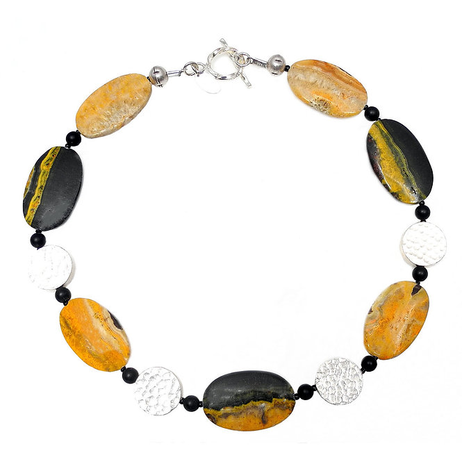 Bumble Bee Jasper Ovals & Silver Necklace