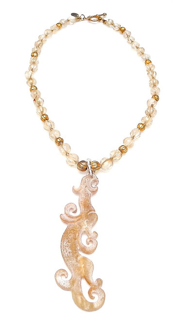 Exotic Tan Jade Dragon on Necklace of Antique Crystal