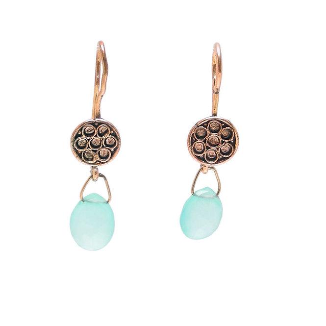 Vintage Rose Gold Vermeil & Chalcedony Drop Earrings