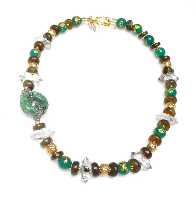 Green Jade Small Disc with Necklace of Crystal & Labradorite