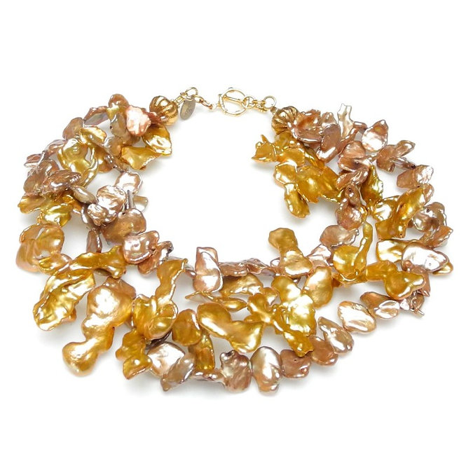 Golden Keshi Pearl Multi-Strand Necklace