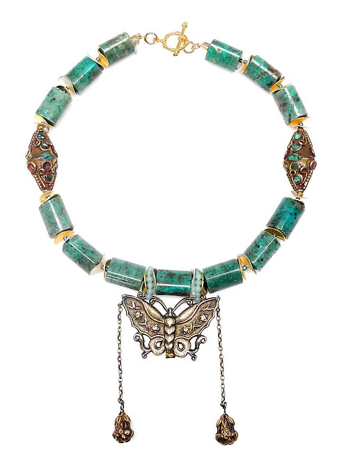 Astonishing Antique Chinese Silver Butterfly Graces Amazonite Necklace