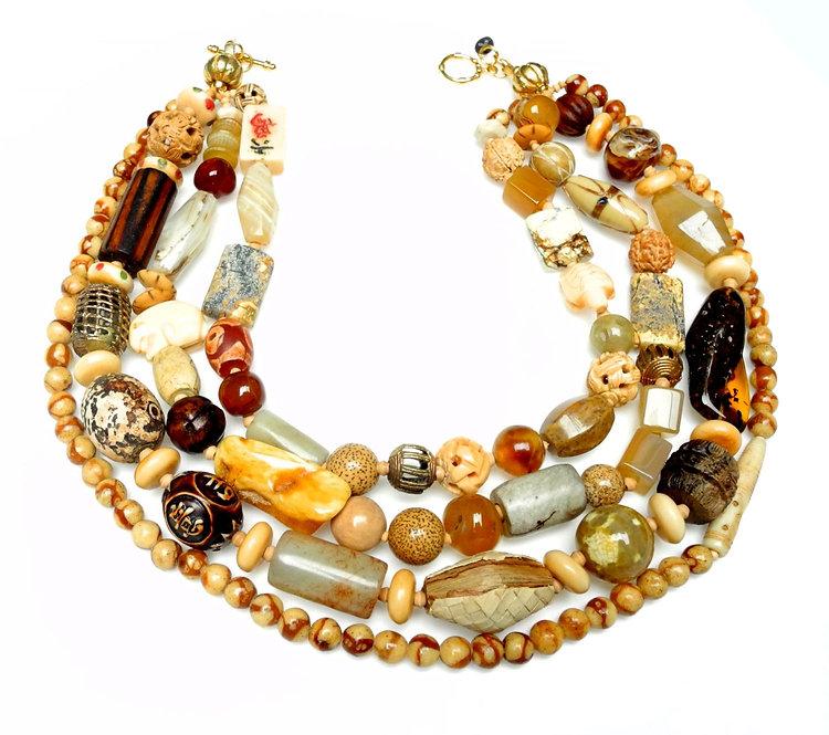 Statement Multi-Strand Necklace of Antique Tan Jades, Bone, Brass & Amber