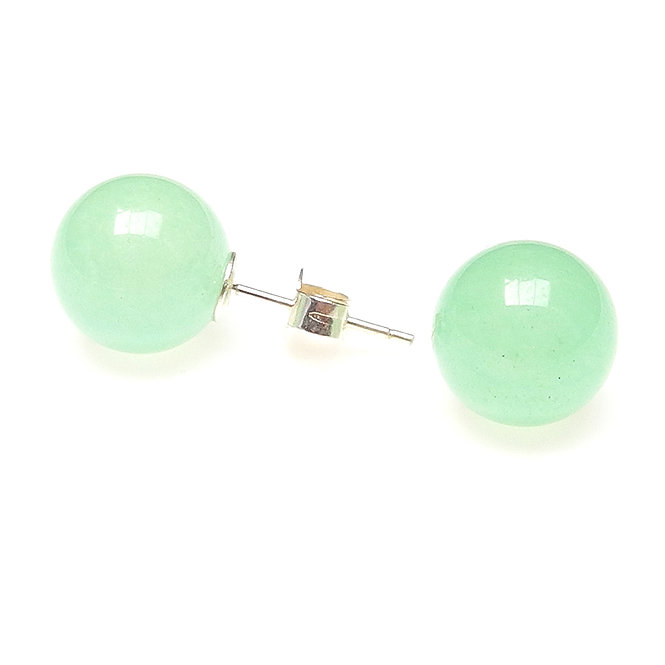 Natural Green Jade Stud Earrings
