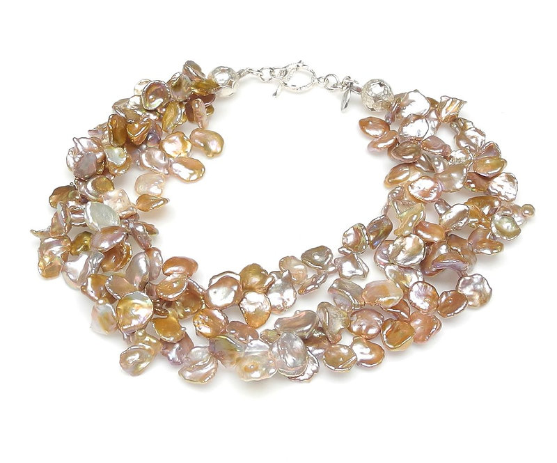 Multi-Strand Necklace of Gold Tipped Silver Keshi Pearls