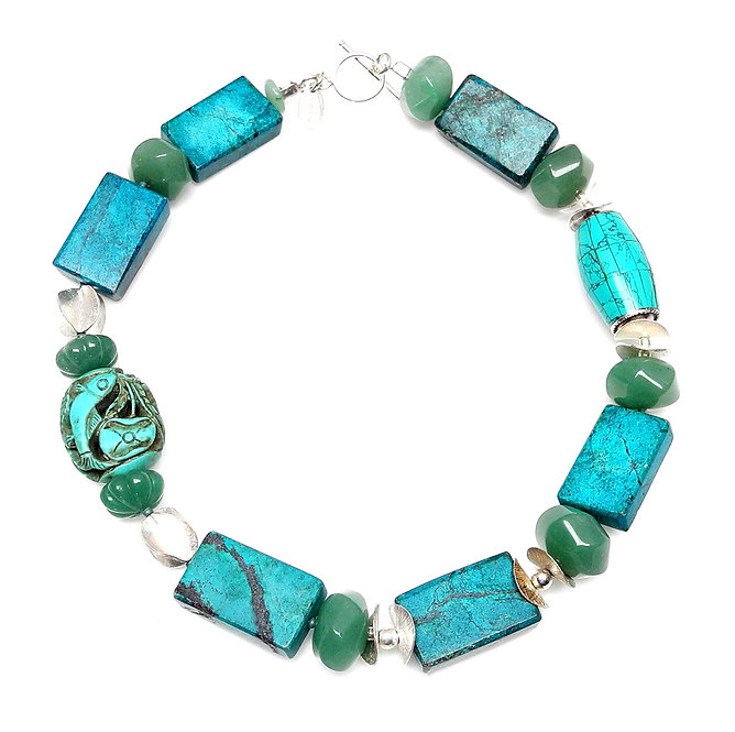Turquoise & Silver Necklace with Antique Turquoise Fish on Side