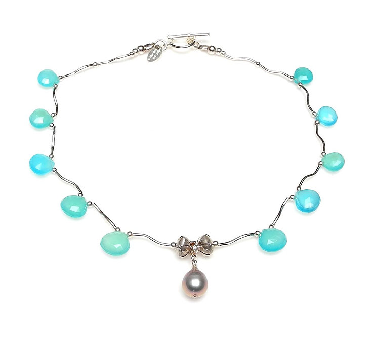 Timeless Chalcedony & Silver Necklace with Silver Single Pearl