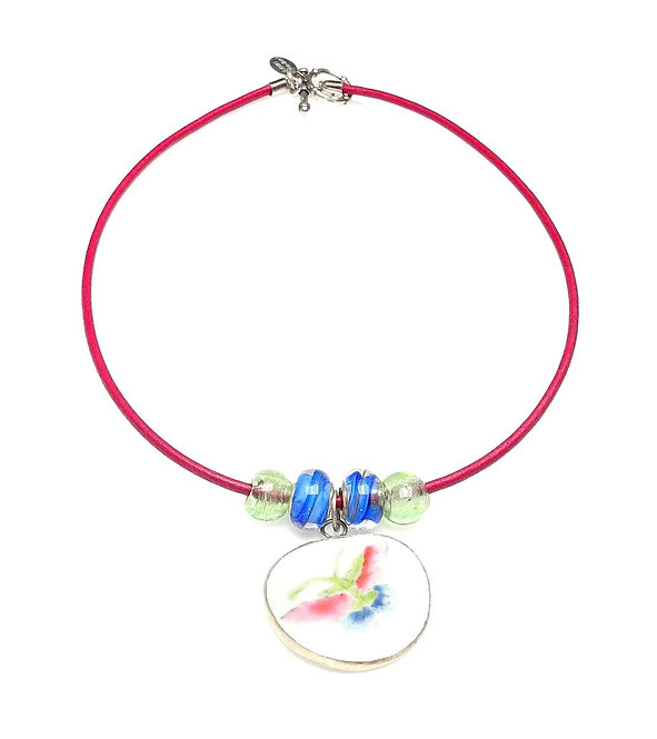 Rose Leather Band Necklace with Antique Porcelain & Glass
